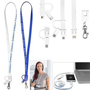 """Layton"" 3-in-1 Lanyard Cell Phone Charging Cable w/Type C Adaptor"